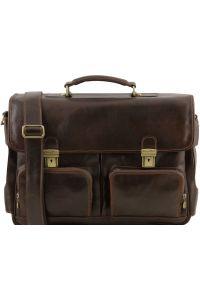 Επαγγελματική Τσάντα Δερμάτινη Ventimiglia με Smart Connect™ Καφέ σκούρο Tuscany Leather