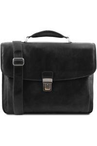 Επαγγελματική Τσάντα Δερμάτινη Alessandria με Smart Connect™ Μαύρο Tuscany Leather