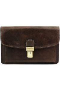Ανδρικό Τσαντάκι Δερμάτινο Arthur Καφέ σκούρο Tuscany Leather