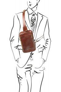Ανδρικό τσαντάκι ώμου δερμάτινο Martin Καφέ Tuscany Leather