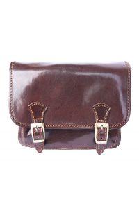 Δερματινη Τσαντα Ταχυδρομου Mini Firenze Leather 7619 Σκούρο Καφέ