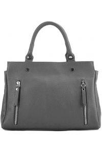 Δερμάτινη Τσάντα Χειρός Maya Firenze Leather 9129 Σκούρο Γκρι