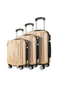 Σετ 3 Βαλίτσες ABS με 4 Ρόδες Showkoo HT003/3 Χρυσό