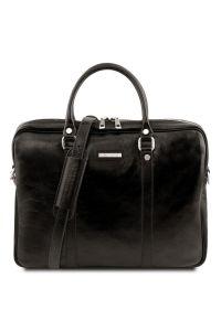"""Γυναικεία Τσάντα Laptop 15.6"""" Δερμάτινη Prato TL141283 Μαύρο Tuscany Leather"""