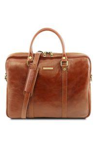 """Γυναικεία Τσάντα Laptop 15.6"""" Δερμάτινη Prato TL141283 Μελί Tuscany Leather"""