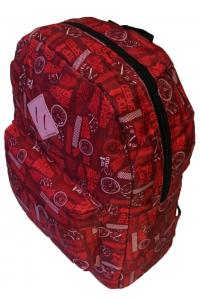 Τσάντα Πλάτης Πολυεστέρα Geometric 30x15x39cm Κόκκινο