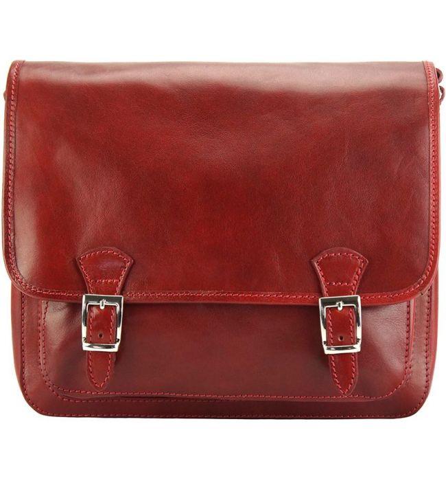 Δερματινη Τσαντα Ταχυδρομου Palmira Firenze Leather 7605 Σκουρο Κόκκινο ... 11c9b92481e