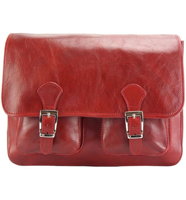 41698a05f6 Δερματινη Τσαντα Ταχυδρομου Pamela Firenze Leather 7609 Σκουρο Κόκκινο ...