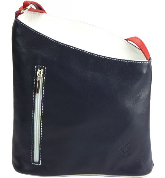 e0aa96b9f4 Δερματινη Τσαντα Ωμου Miriam Firenze Leather 407 Μπλε Λευκο Κόκκινο ...