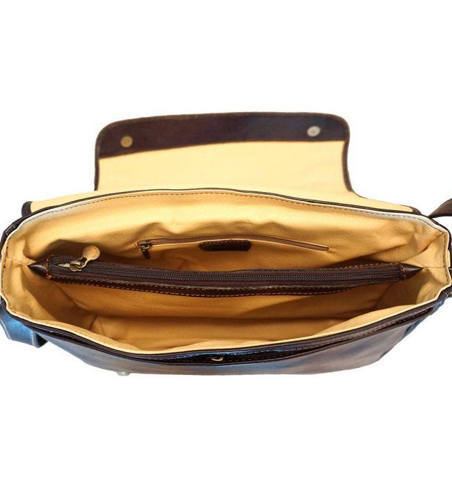 Τσάντα Ταχυδρόμου Δερματινη Firenze Leather 6555 Σκουρο Καφε