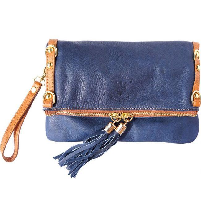 d50de86301 Δερμάτινο Τσαντακι Clutch Giorgia Firenze Leather 9606 Σκουρο Μπλε Μπεζ ...