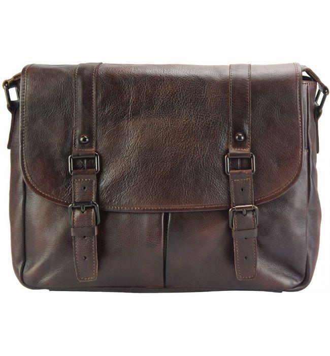 Δερματινη Τσαντα Ταχυδρομου Mattia Firenze Leather 68140 Σκουρο Καφε